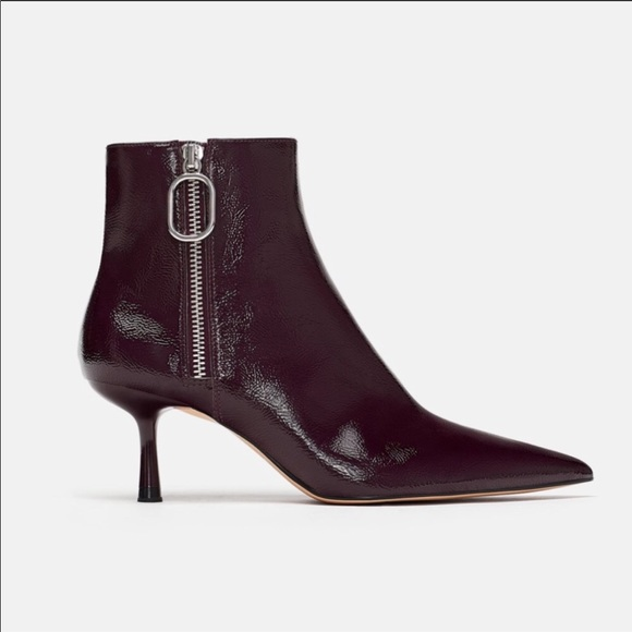 2c02a2206aa Zara deep purple patent leather pointy toe boots